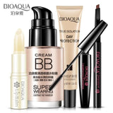 Bioaqua Bright Cosmetics Makeup Set Lip Balm Bb Cream Eyebrow Pencil Mascara Cream Makeup Base 5Pcs White / China