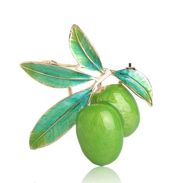 Blucome Cute Green Fruit Brooch Plum Shape Gold Color Enamel Corsages Pins Suit Coat Scarf Green