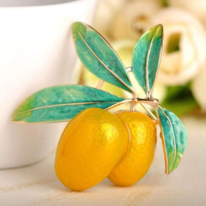 Blucome Cute Green Fruit Brooch Plum Shape Gold Color Enamel Corsages Pins Suit Coat Scarf Yellow