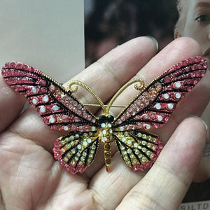 Blucome Fashion Women Butterfly Brooches Pins For Women Perfect Rhinestone Crystal Hijab Pins And Pink