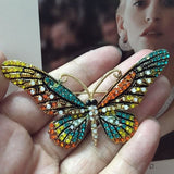 Blucome Fashion Women Butterfly Brooches Pins For Women Perfect Rhinestone Crystal Hijab Pins And Green