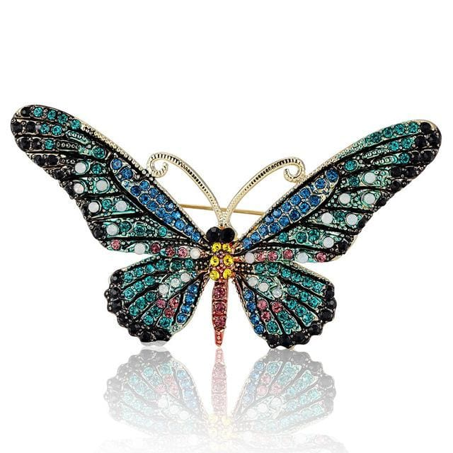 Blucome Fashion Women Butterfly Brooches Pins For Women Perfect Rhinestone Crystal Hijab Pins And Blue