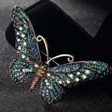 Blucome Fashion Women Butterfly Brooches Pins For Women Perfect Rhinestone Crystal Hijab Pins And