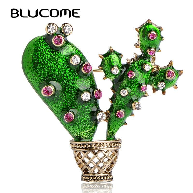 Blucome Green Enamel Cactus Brooch Kids Lady Crystal Plant Corsage Suit Scarf Dress Decoration