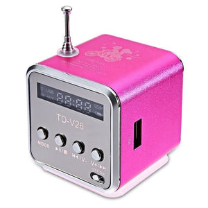 Bluetwos TD - V26 Mini Speaker Micro SD USB Music Player Digital FM Radio Stereo Bass Antenna FLUORESCENT PINK