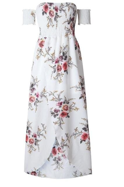 Boho style long dress women Off shoulder beach summer dresses Floral print Vintage chiffon white - MBMCITY
