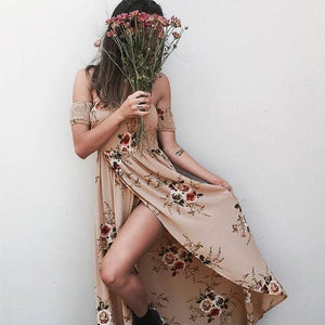 Boho style long dress women Off shoulder beach summer dresses Floral print Vintage chiffon white.