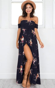 Boho style long dress women Off shoulder beach summer dresses Floral print Vintage chiffon white