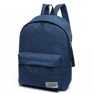 Bokinslon Women Backpack Man Popular Solid Color Backpack For Woman School Bag College Wind Small Blue