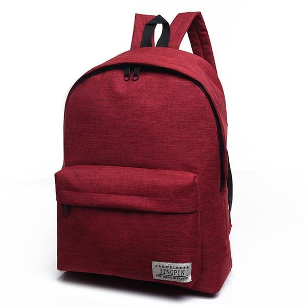 Bokinslon Women Backpack Man Popular Solid Color Backpack For Woman School Bag College Wind Small Red