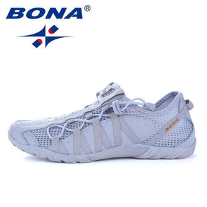 BONA New Popular Style Men Running Shoes Lace Up Athletic Shoes Outdoor Walkng jogging Sneakers BLACK / 8