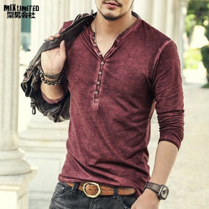 Brand Designer Men Cotton Vintage Henry T Shirts Casual Long Sleeve High quality Men old color