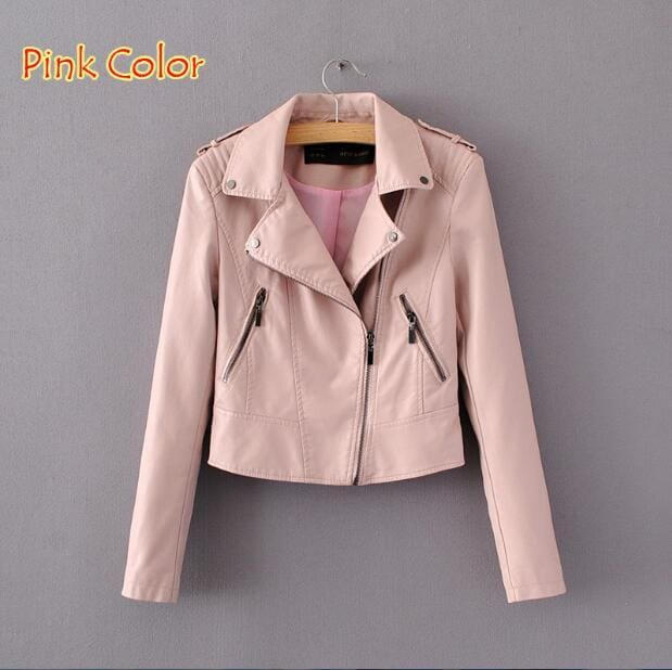 Brand Motorcycle Pu Leather Jacket Women Winter And Autumn New Fashion Coat 4 Color Zipper Outerwear 1603 Pink / S