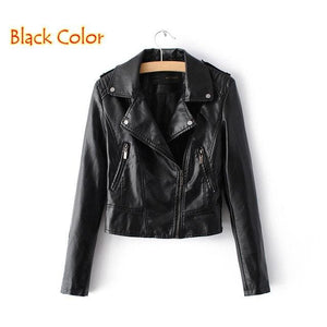 Brand Motorcycle PU Leather Jacket Women Winter And Autumn New Fashion Coat 4 Color Zipper Outerwear 1603 Black / S