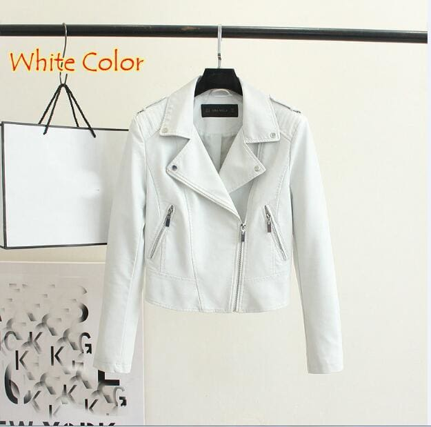 Brand Motorcycle Pu Leather Jacket Women Winter And Autumn New Fashion Coat 4 Color Zipper Outerwear 1603 White / S