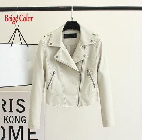 Brand Motorcycle Pu Leather Jacket Women Winter And Autumn New Fashion Coat 4 Color Zipper Outerwear 1603 Beige / S