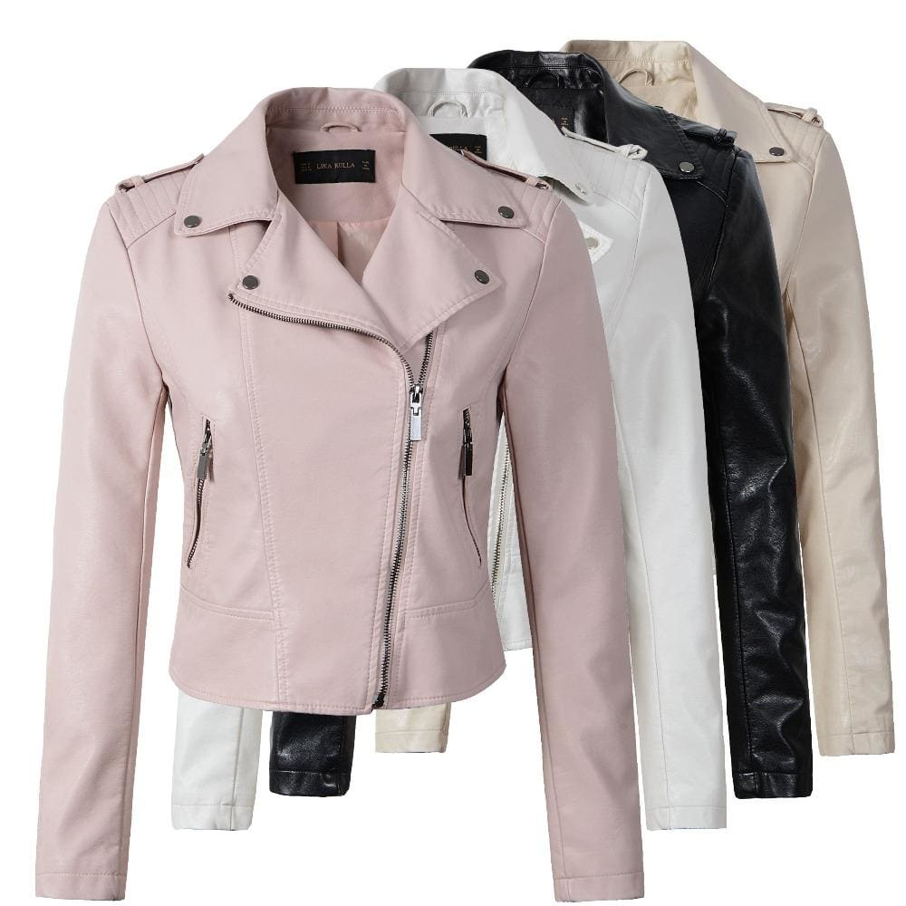 Brand Motorcycle PU Leather Jacket Women Winter And Autumn New Fashion Coat 4 Color Zipper Outerwear - MBMCITY