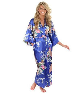Brand New Black Women Silk Kimono Robes Long Sexy Nightgown Vintage Printed Night Gown Flower Plus As The Photo Show / S