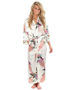 Brand New Black Women Silk Kimono Robes Long Sexy Nightgown Vintage Printed Night Gown Flower Plus As The Photo Show 6 / S