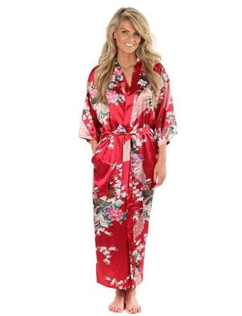 Brand New Black Women Silk Kimono Robes Long Sexy Nightgown Vintage Printed Night Gown Flower Plus As The Photo Show 4 / S