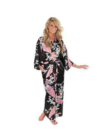 Brand New Black Women Silk Kimono Robes Long Sexy Nightgown Vintage Printed Night Gown Flower Plus As The Photo Show 5 / S