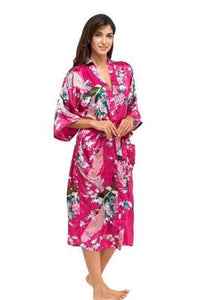 Brand New Black Women Silk Kimono Robes Long Sexy Nightgown Vintage Printed Night Gown Flower Plus As The Photo Show 8 / S