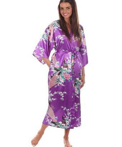 Brand New Black Women Silk Kimono Robes Long Sexy Nightgown Vintage Printed Night Gown Flower Plus As The Photo Show 11 / S
