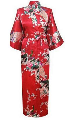 Brand New Black Women Silk Kimono Robes Long Sexy Nightgown Vintage Printed Night Gown Flower Plus As The Photo Show 12 / S