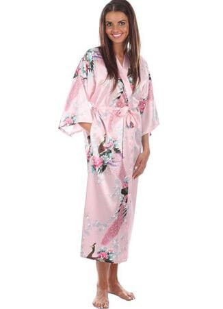 Brand New Black Women Silk Kimono Robes Long Sexy Nightgown Vintage Printed Night Gown Flower Plus As The Photo Show 7 / S