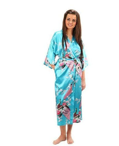 Brand New Black Women Silk Kimono Robes Long Sexy Nightgown Vintage Printed Night Gown Flower Plus As The Photo Show 2 / S