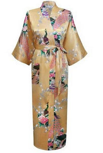 Brand New Black Women Silk Kimono Robes Long Sexy Nightgown Vintage Printed Night Gown Flower Plus As The Photo Show 1 / S