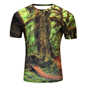 Brand New Summer Designer 3D Printed T Shirt Men'S Short Sleeve Tshirt Creative forest Men'S T-Shirt