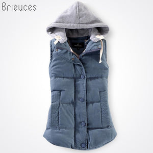 Brieuces Autumn And Winter Vest Women 2017 Cotton Vest With A Hood Patchwork Cotton Vest Female