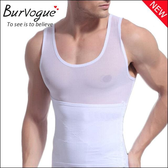 Burvogue Hot Shaper Men Body Shaper Vest Waist Cincher and Tummy Control Slimming Belly Shaper White / M / China