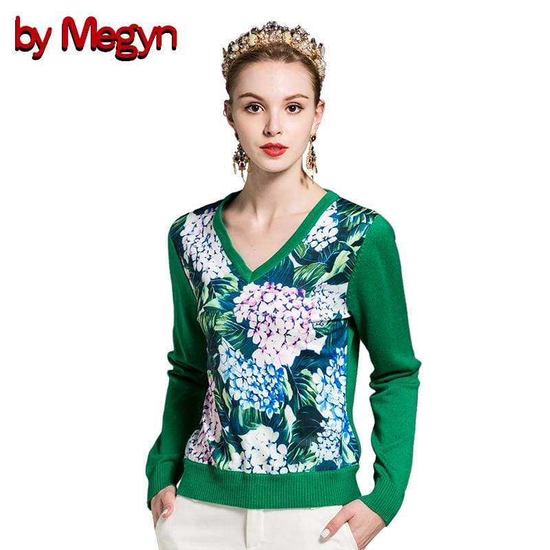 By Megyn Winter Women Fashion Pullover Sweater Women V-Neck Long Sleeve Elastic Floral Print