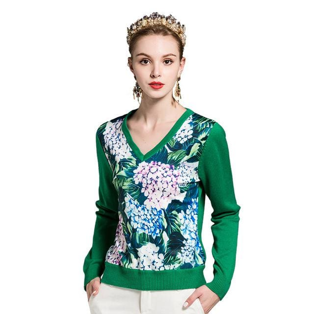 By Megyn Winter Women Fashion Pullover Sweater Women V-Neck Long Sleeve Elastic Floral Print Green / M