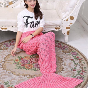 CAMMITEVER Mermaid Blanket Mermaid Tail Wool For Sofa Cover New Style Trend Adult Children Relax.