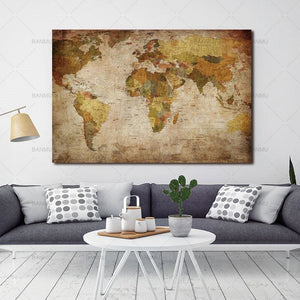 Canvas Painting Wall Picture Print On Canvas Home Decor Wall Art 1 Panel Vintage World Map Decor For
