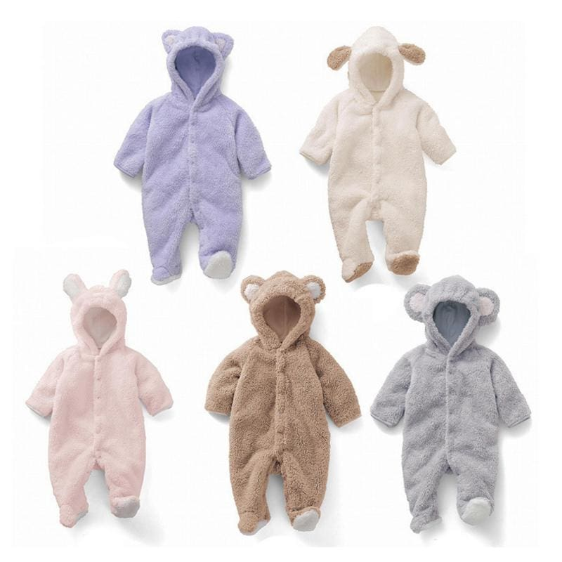 Cartoon Coral Fleece Newborn Baby Romper Costume Baby Clothes Animal Overall Menina Winter Warm