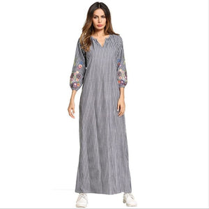 Casual Embroidery Maxi Dress Muslim Abaya Kimono Stripe Flounce Long Robe Gowns Loose Jubah Ramadan