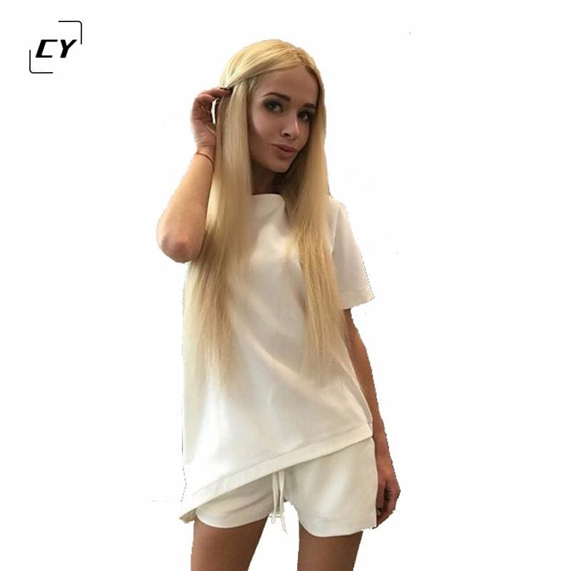Casual Women Sets Clothes 2 Pieces Top T-shirt and Shorts Summer Women Sets Fashion Soild Color