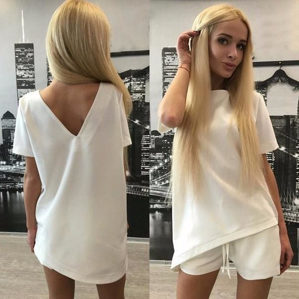 Casual Women Sets Clothes 2 Pieces Top T-shirt and Shorts Summer Women Sets Fashion Soild Color White / S