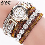 Ccq Brand Fashion Luxury Rhinestone Bracelet Watch Ladies Quartz Watch Casual Women Wristwatch Brown