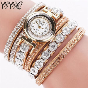 Ccq Brand Fashion Luxury Rhinestone Bracelet Watch Ladies Quartz Watch Casual Women Wristwatch Beige