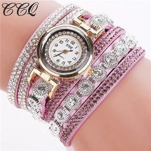 Ccq Brand Fashion Luxury Rhinestone Bracelet Watch Ladies Quartz Watch Casual Women Wristwatch Purple