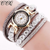 Ccq Brand Fashion Luxury Rhinestone Bracelet Watch Ladies Quartz Watch Casual Women Wristwatch Grey