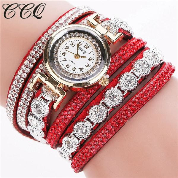 CCQ Brand Fashion Luxury Rhinestone Bracelet Watch Ladies Quartz Watch Casual Women Wristwatch red