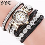 Ccq Brand Fashion Luxury Rhinestone Bracelet Watch Ladies Quartz Watch Casual Women Wristwatch Black
