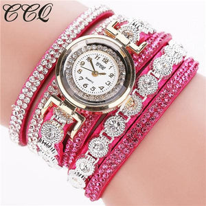 CCQ Brand Fashion Luxury Rhinestone Bracelet Watch Ladies Quartz Watch Casual Women Wristwatch rose