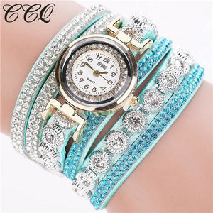 Ccq Brand Fashion Luxury Rhinestone Bracelet Watch Ladies Quartz Watch Casual Women Wristwatch Mint Green
